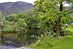 river through the campsite in beddgelert